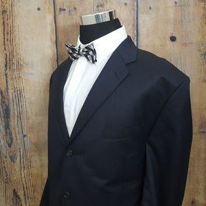Calvin Klein Striped Suit Mens 48 R Wool Blue
